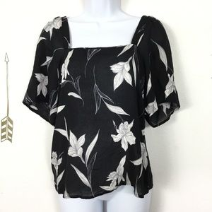 NWT A NEW DAY BLACK FLORAL TOP